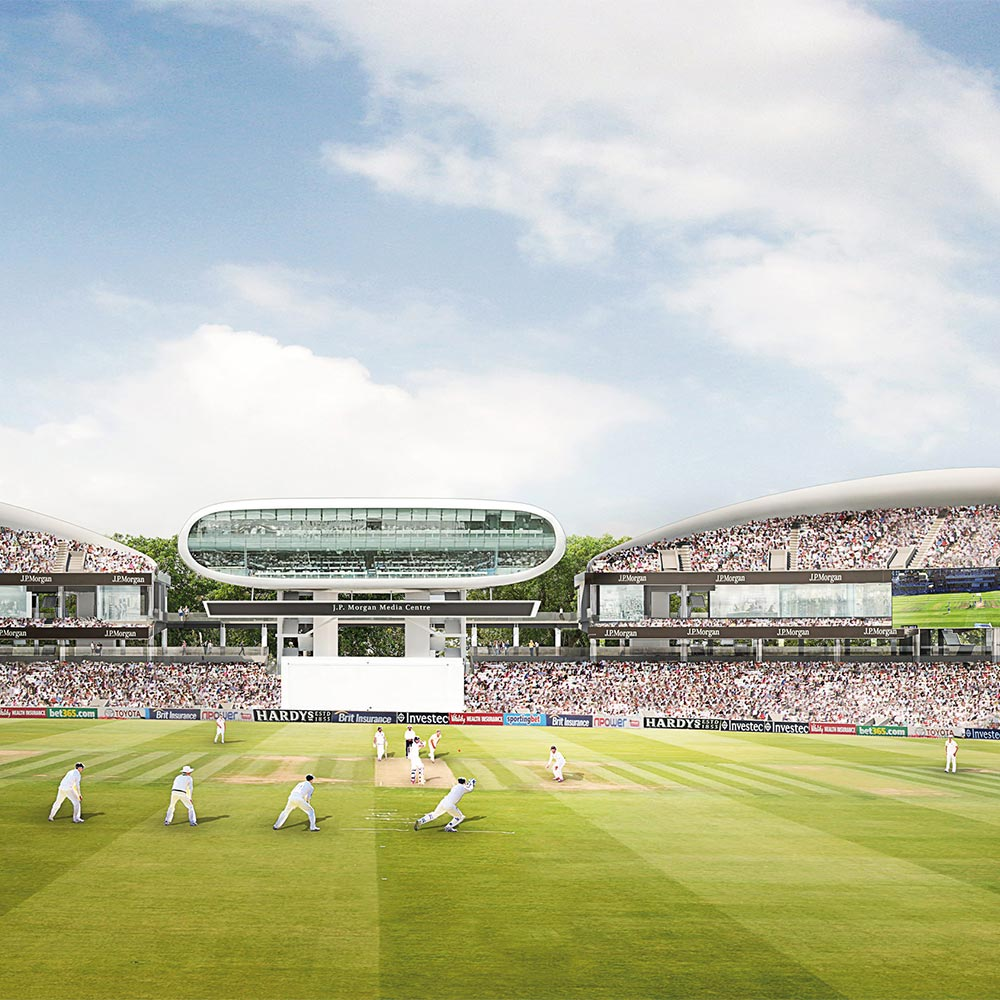 A cricket game at Lord's, redeveloped stands full of cheering crowds
