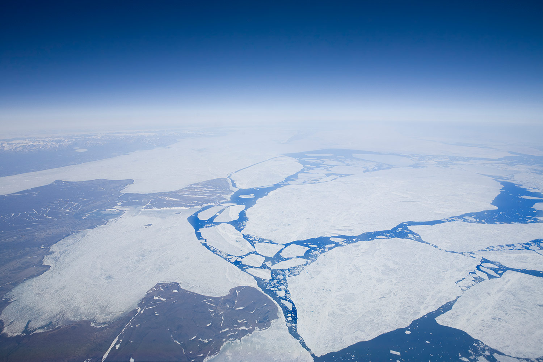 Atmospheric aerial shot of Arctic sheet ice melting