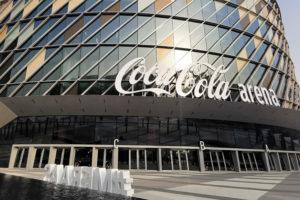 Front view of the Dubai coca cola arena